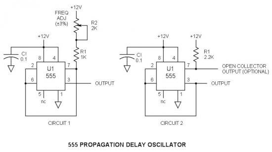 555 Propagation Delay Oscillator Schematic