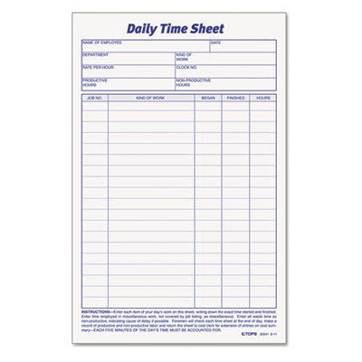 TOPS™ Daily Time and Job Sheets, 8 1/2 x 5 1/2, 200/Pad, 2/Pack ...