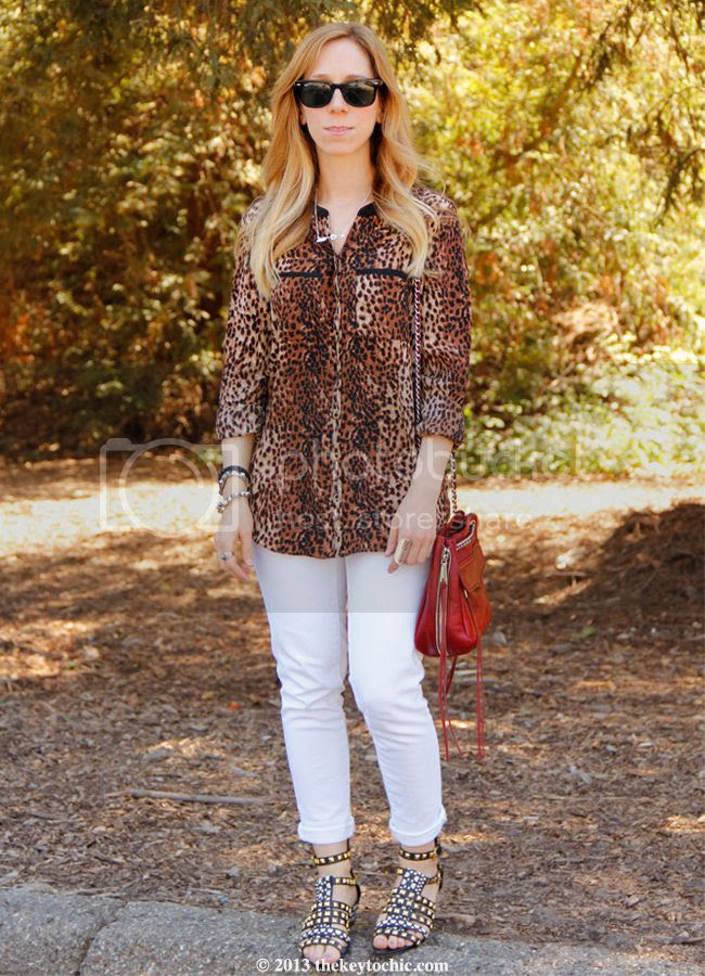 Heavenly Couture cheetah print blouse, Gap white skinny jeans, Zara studded tribal sandals, Rebecca Minkoff Swing bag, Los Angeles fashion blogger