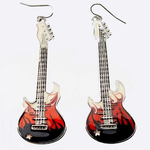 FLAMING GUITARS: DaisyJewel Flaming Guitar Dangle Earrings Rock On! - These Cute Dangles Are on Fire with Beautiful Black to Brilliant Red to Cre...