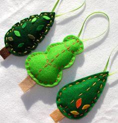 Felt Tree Ornaments - 3 Green Tree Felt Ornaments