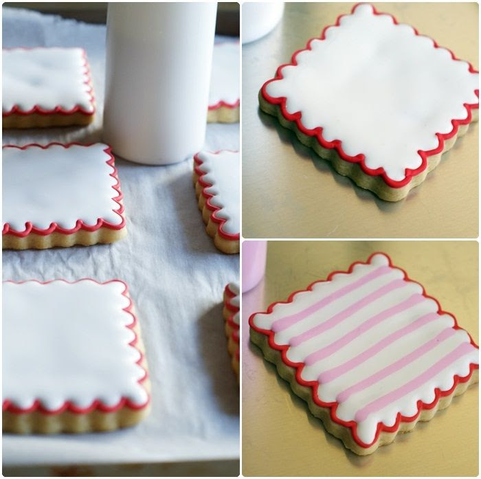 how to decorate Double-decker, Stripey, Valentine Cookies | bakeat350.blogspot.com