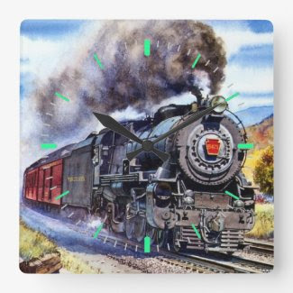 Steam Locomotive Square Wall Clock