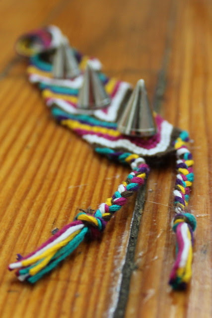 "How to make a spikey studded friendship bracelet (or ""frenemy bracelet"")"