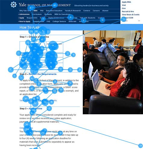 Gaze plot of user viewing Web page about a university's application process