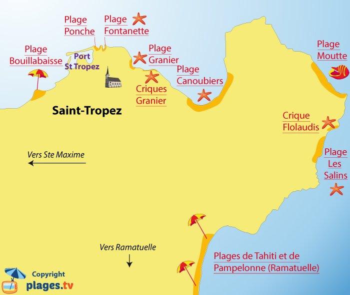 Carte des plages de St Tropez