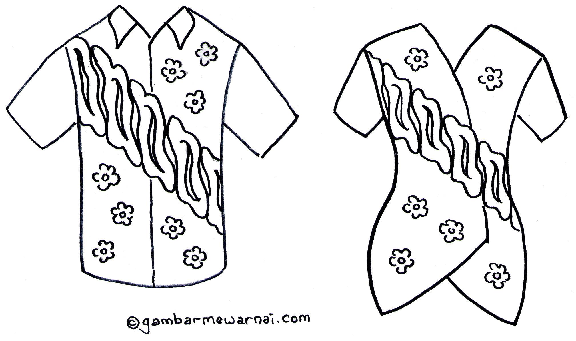 Gambar Mewarnai Baju Batik Gambar Mewarnai Mewarnai