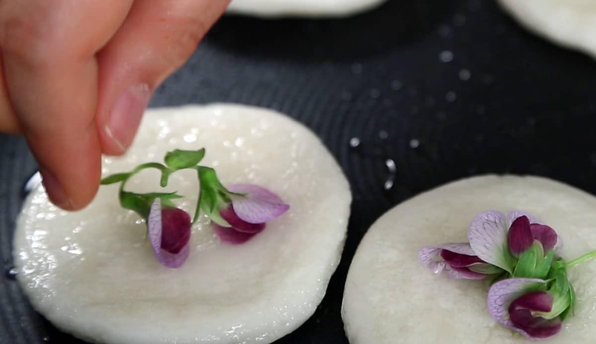 Pan-fried sweet rice cakes with edible flowers (Hwajeon ...