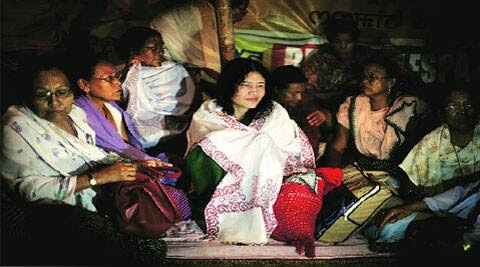 Irom Sharmila with Meira Paibis (Manipuri Mothers); they fear the government will rearrest her in days. ( Source: Express photo by Deepak Shijagurumayum )