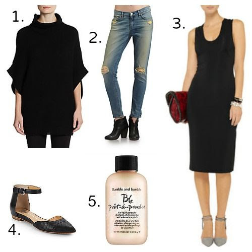 Loving This Week - Raffi Cashmere - Rag and Bone Jeans - Dolce Vita Flats - T by Alexander Wang Dress - Bumble and bumble Dry Shampoo