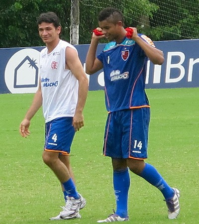 Ronaldo Angelim David Braz treino Flamengo (Foto: Richard Souza / Globoesporte.com)