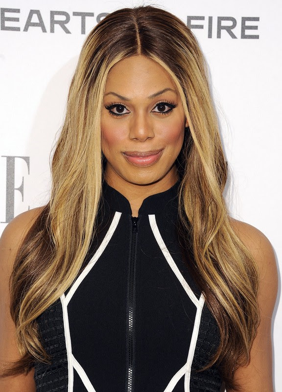 Laverne Cox Center Part Long Ombre Hair Style With Subtle Waves For