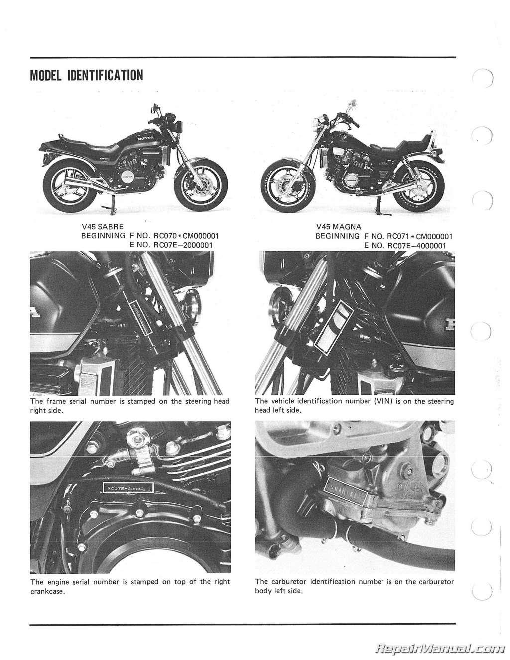 1982 - 1985 Honda VF700C Magna, VF750S V45 Sabre ...