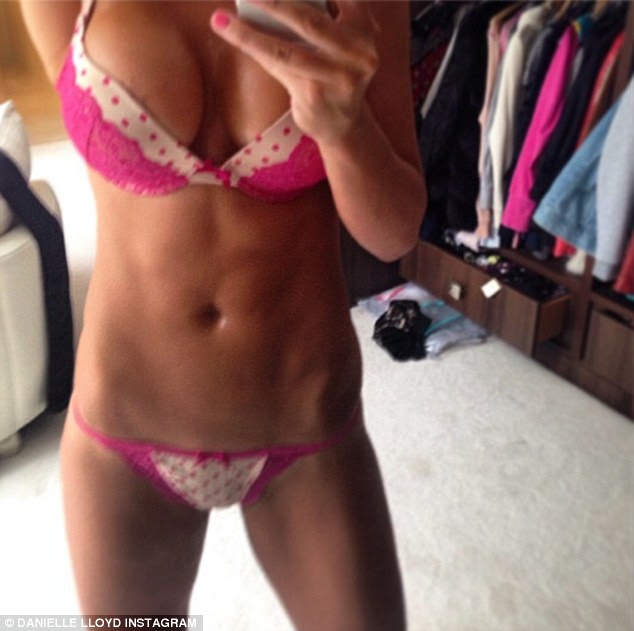Ab-fab: WAG Danielle Lloyd also posted a picture of herself wearing miniscule pink lingerie
