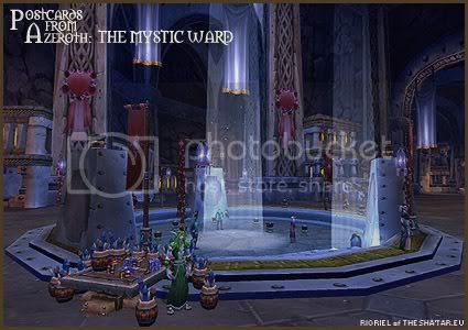Rioriel's daily World of Warcraft screenshot presentation of significant locations, players, memorable characters and events taken on the European roleplaying server The Sha'tar, assembled in the style of a postcard series. -- Postcards from Azeroth: The Mystic Ward, by Rioriel of theshatar.eu