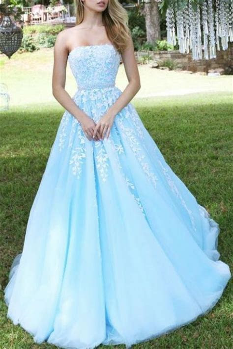 Princess Sky Blue Strapless A line Tulle Prom Dress with