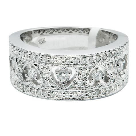 WIDE 14K WHITE GOLD PAVE FILIGREE DIAMOND HEART WEDDING