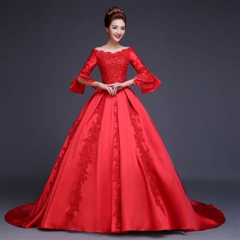 Vintage Red Wedding Dress Ball Gown With Long Sleeves Boat