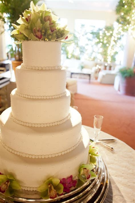 Five Tier Round Wedding Cake With Tropical Flowers