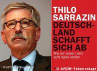 Thilo Sarrazin next to the cover of this book