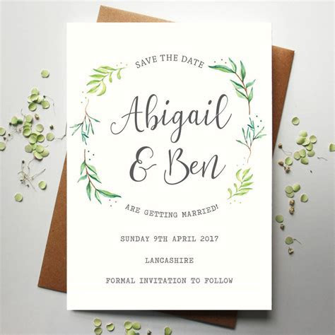 botanical wedding save the date by rodo creative