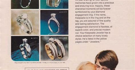 KEEPSAKE DIAMOND ENGAGEMENT RINGS AD 1969 Vintage Magazine