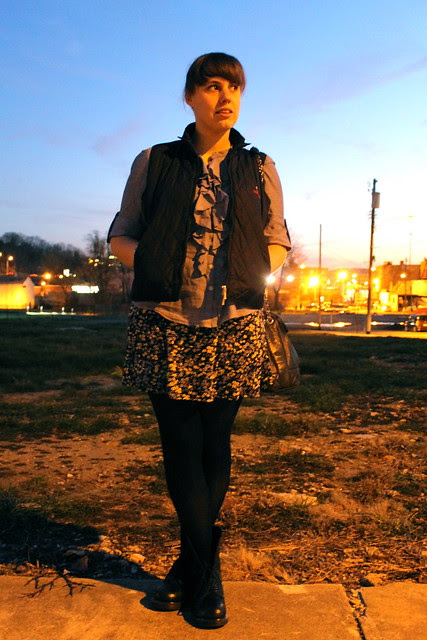 Sunset outfit: Doc Martens, '90s skirt, chambray shirt, quilted vest