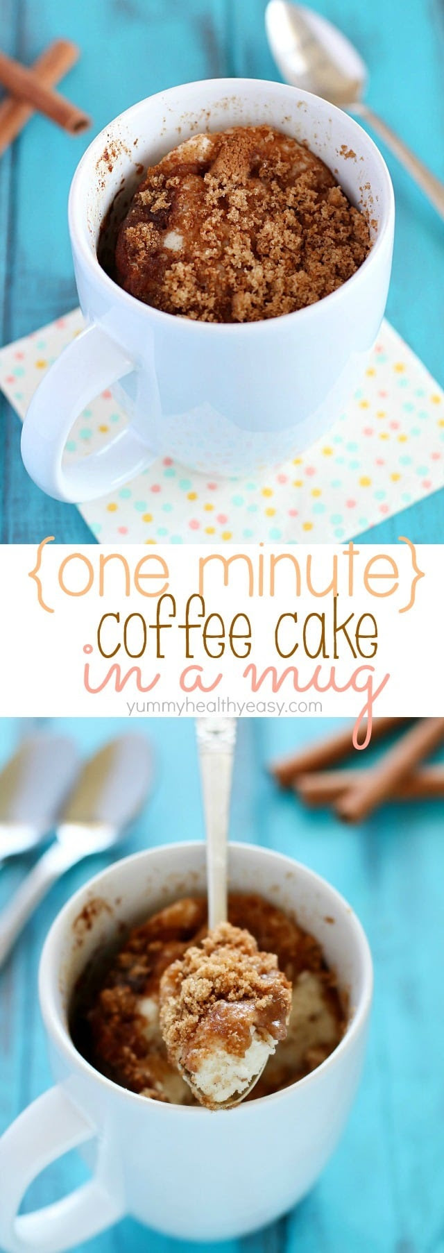 One-Minute Coffee Cake in a Mug - Yummy Healthy Easy
