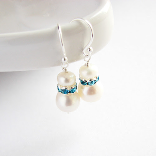 freshwater pearl earrings with sapphire blue sparkling zircone