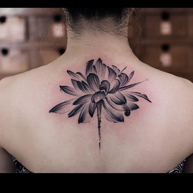 Uneven Brush Lotus Tattoo On Back Best Tattoo Ideas Gallery