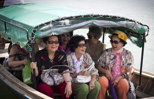 Ladies on the boat at Bang Mud Seafood