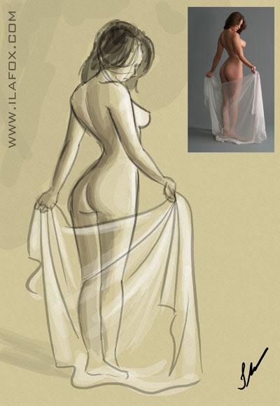 desenho de observação modelo vivo, mulher nua, dicas para ilustradores, by ila fox