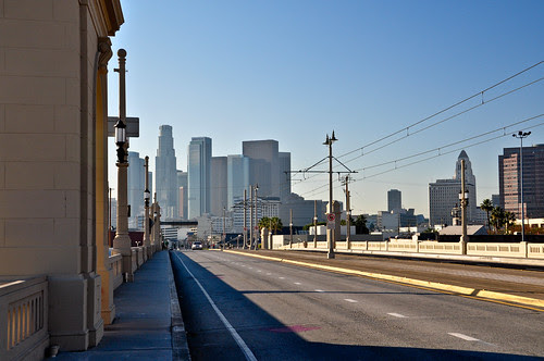 Downtown L. A. from the 1st Street Bridge by Snap Man