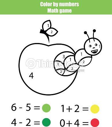 Color Por Números Juego De Matemáticas Página Para Colorear Con