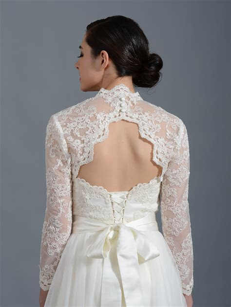 Long sleeve alencon lace bolero with keyhole back   Lace 100