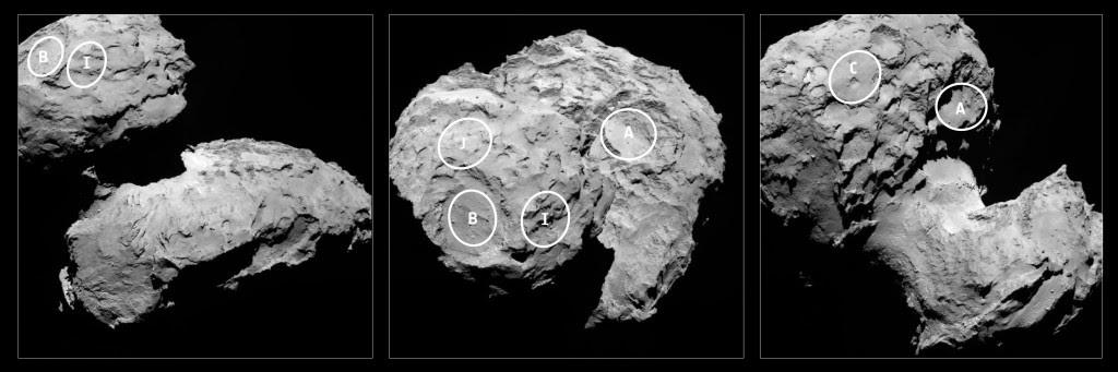 Le posizioni approssimative dei cinque siti di atterraggio candidato sono contrassegnati nelle immagini della telecamera ad angolo stretto OSIRIS scattate il 16 agosto da una distanza di circa 100 km. Credits: ESA / Rosetta / MPS per OSIRIS del Team MPS / UPD / LAM / IAA / SSO / INTA / UPM / DASP / IDA