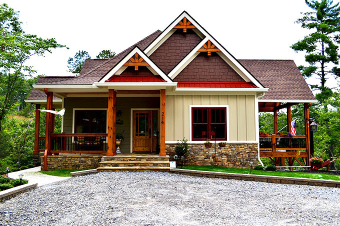 craftsman 3 bedroom lake house plan walkout basement wedowee creek 680