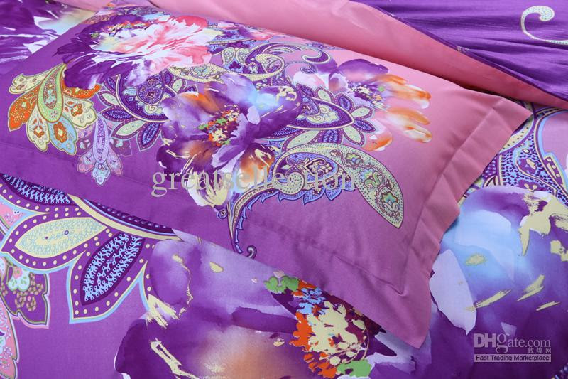 Wholesale Elegant King size Bedding set Purple Phoenix Floral ...
