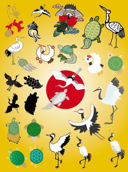 鶴と亀年賀状縁起物のイラストaieps ベクタークラブ