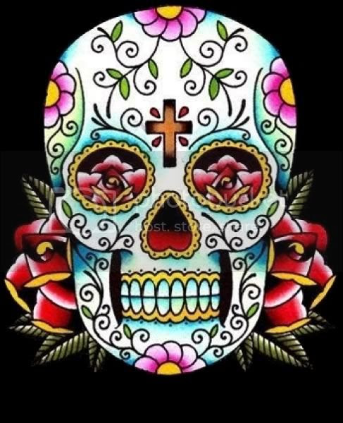 sugar skull tattoo black and white