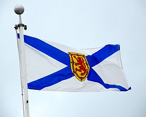 The flag of Nova Scotia, flying in Amherst, No...