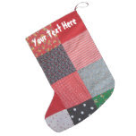 colorful vintage fabric patchwork retro style small christmas stocking