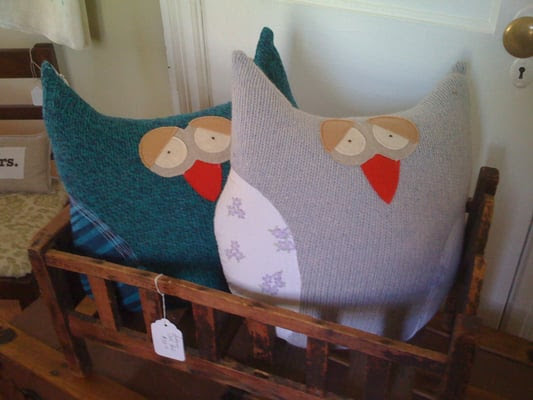 Owl pillows made from recycled sweaters - too cute! | Yelp