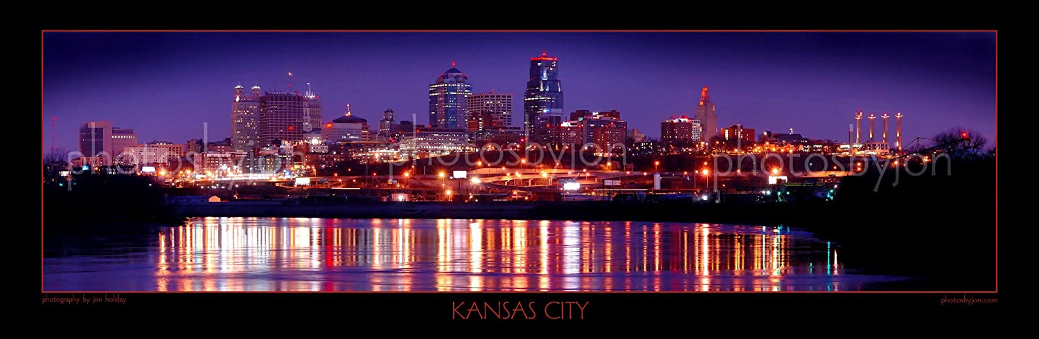 Amazon.com: Kansas City Missouri Skyline NIGHT 12 inches x 36 ...