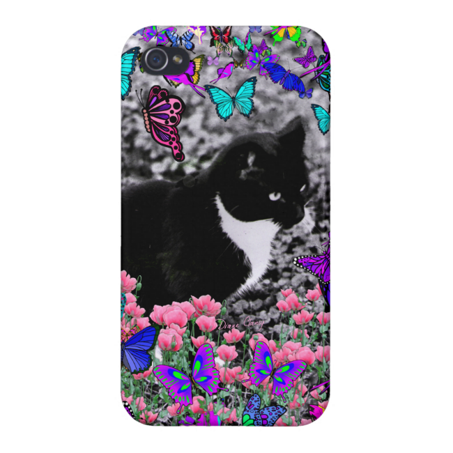 Freckles in Butterflies II - Tuxedo Cat Cover For iPhone 4