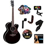 Yamaha FJX730SC Black Medium Jumbo Acoustic-Electric Guitar Bundle w/Legacy Kit (Tuner,DVD, and More)