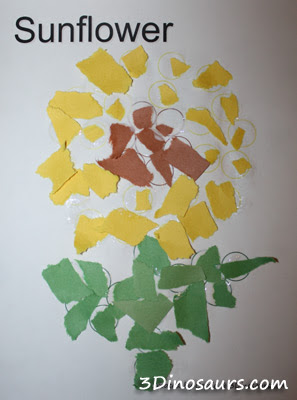 The Sunflower Sword: Torn Paper Sunflower