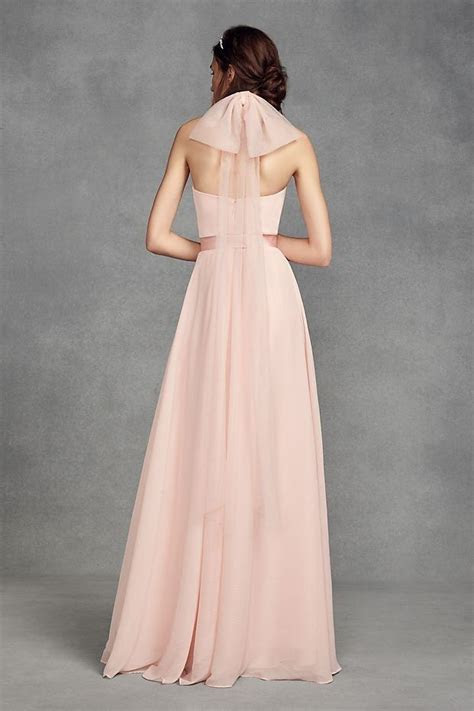 Chiffon Halter Pink Bridesmaid Dress with Tulle Bow by