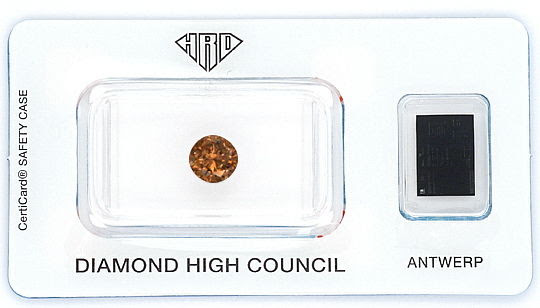 Foto 1, NATURAL FANCY INTENSE ORANGY BROWN 1,17 ct BRILLANT HRD, D6189