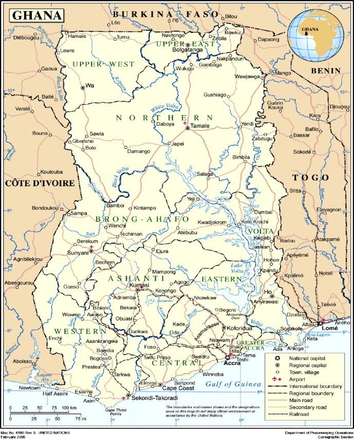 Map of Ghana.